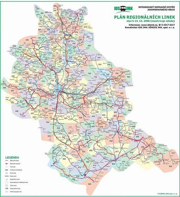 Integrovaný dopravní systém Jihomoravského kraje - plán regionálních linek.