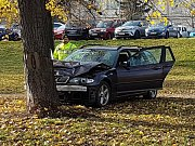 Netradiční pohled do Björnsonova sadu v Brně. Stálo tam o strom nabourané auto.