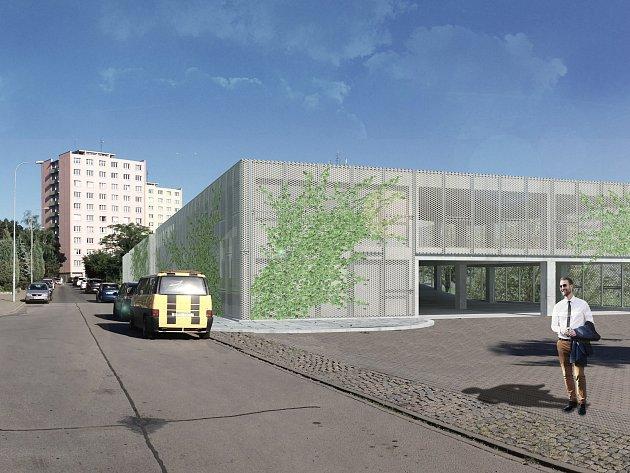 Vizualizace parkovacího domu u školy Krásného na brněnském sídlišti Juliánov.