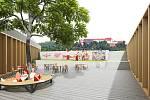 Budova s tělocvičnou, společenským sálem i kavárnou, která zároveň splyne s přírodou. Tak bude podle vítězného návrhu vypadat volnočasové centrum s mateřskou školkou pro padesát dětí v Pivovarské ulici.