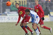 Fotbalové utkání mezi 1. FC Brno a Baníkem Ostrava.