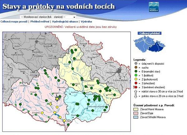 Stav moravských řek ve středu odpoledne.