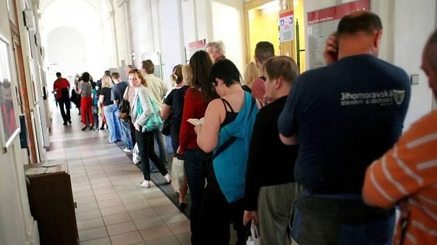Chodby brněnského magistrátu zaplnily v pátek davy lidí.