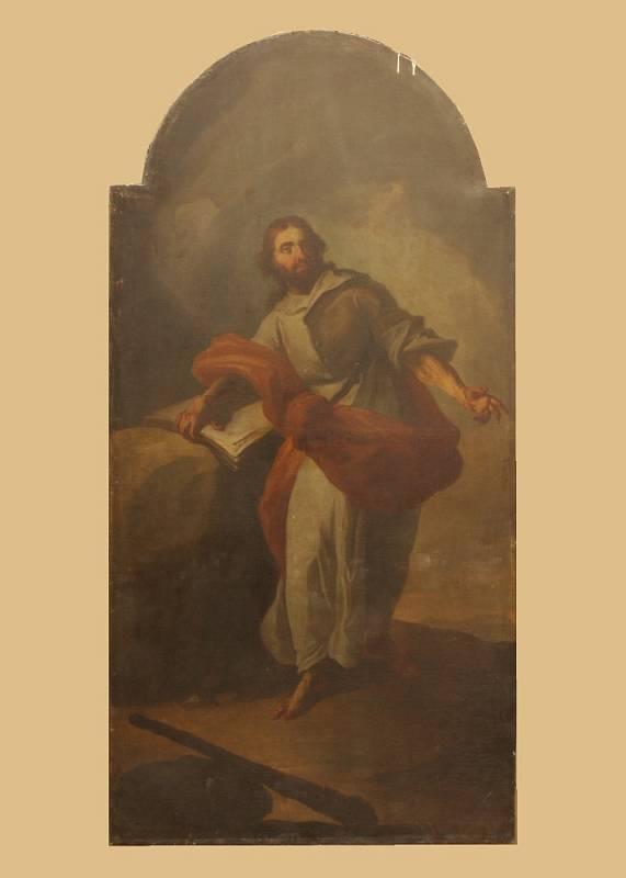 Obrazy sv. apoštola Šimona v Brně. Od barokního malíře Josefa Sterna z druhé poloviny 18. století. Obraz před restaurováním.