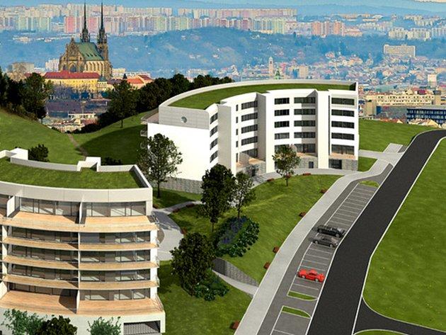 Vizualizace komplexu tří bytových domů v bohunických Netroufalkách.