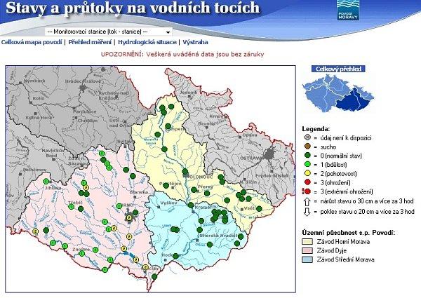 Stav moravských řek ve středu vdopoledních hodinách.