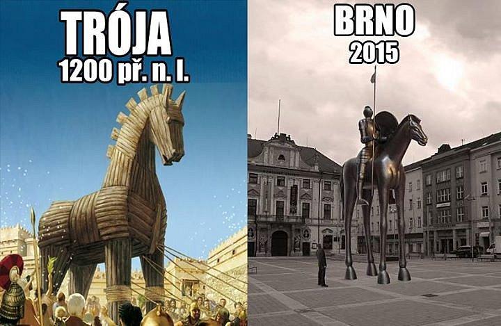 4.Fotomontáž, kde socha Odvahy připomíná Trojského koně. Lidé na internetu vytváří netradiční fotografie a fotomontáže sochy Odvahy znázorňující Jošta Lucemburského.