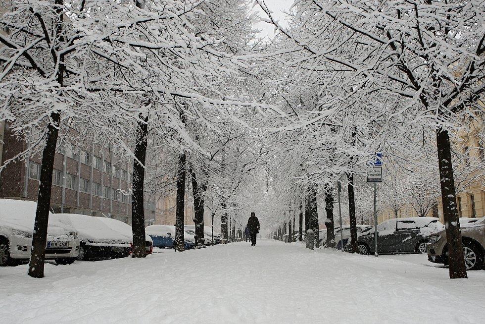 Leden 2019 - Brněnští silničáři bojují s přibývajícím sněhem.