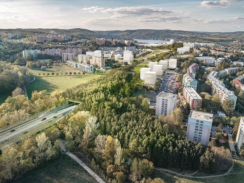 Nadhledová vizualizace průtahem brněnskou Bystrcí z dílny kanceláře Ing. arch. Pavel Jura ve spolupráci sFAST VUT.