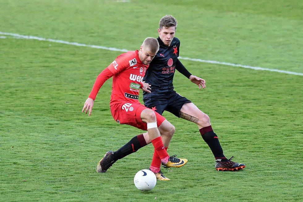 Fotbalisté Zbrojovky Brno vduelu 25.kola FORTUNA:LIGY získali bod smistrovskou Slavií Praha, na domácím trávníku remizovali 0:0.