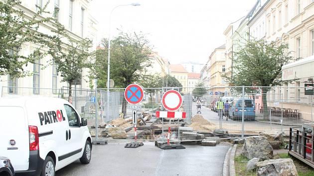 Ulice Gorkého v Brně při loňské rekonstrukci.