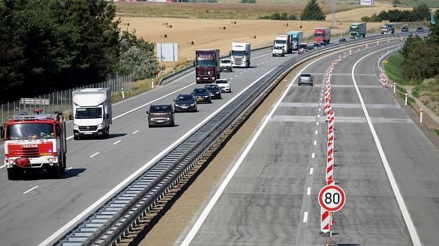 Zmodernizovaný úseku dálnice D1 u Devíti křížů na pomezí Jihomoravského kraje a Vysočiny.