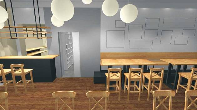 Vizualizace podoby nové kavárny v Dělnickém domě v Židenicích