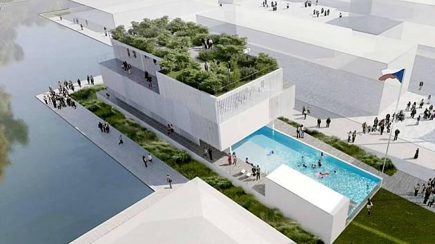 Pavilonu pro Expo dominuje bazén.