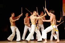 Brněnská skupina Grupo Candeias předvedla brazilské bojové umění capoeira.