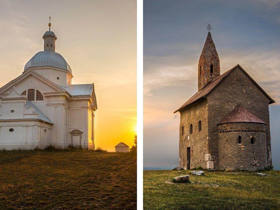 Svatý kopeček se zvonicí a kaplí svatého Šebestiána u Mikulova na Břeclavsku a kostel svatého Michala Archanděla na skalnatém kopci nad Dražovcemi v okrese Nitra na Slovensku.