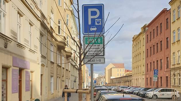 V opravené Gorkého ulici v Brně stojí vedle vysazených stromů dopravní značky nebo nad nimi visí lampy veřejného osvětlení.
