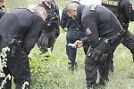 Policisté a potápěči pátrající na pobřeží i uvnitř řeky Dyje po předmětu, který souvisí s vraždou v Břeclavi.