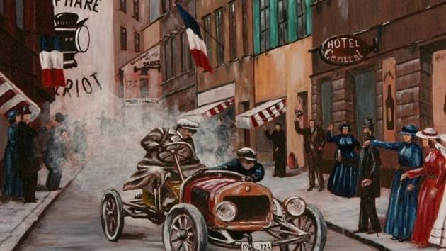 Jeden z obrazů, který bude i na výstavě v Brně, zachycuje automobilový závod v Gaillon v roce 1910.