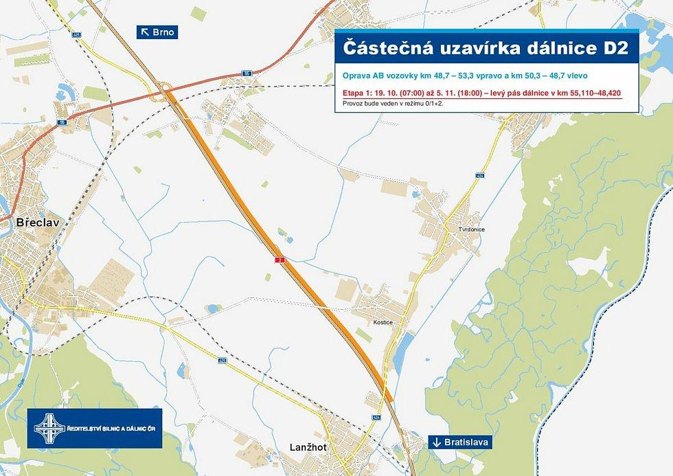 V úterý skončilo omezení na D2 mezi Břeclaví a Lanžhotem.