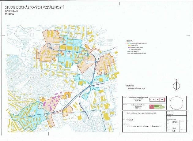 Studie docházkových vzdáleností kplánované trati tramvaje.
