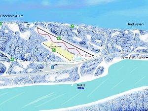 Podle plánu podnikatele Pavla Trčaly má sjezdovka na kopci Chochola nad Roklí u Brněnské přehrady lyžařům nabídnout půl kilometru dlouhý svah nebo svah pro dětské lyžaře a začátečníky.