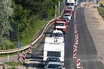 Dopravní zácpa ve Vídeňské ulici v Brně.