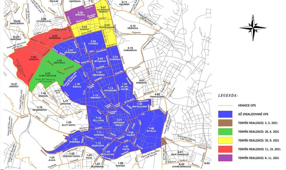 Mapa letošního rozšíření modrých zón v Brně.