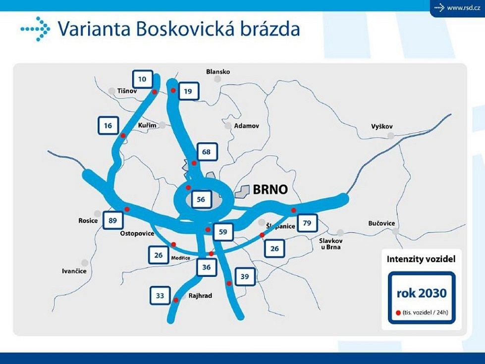 BOSKOVICKÁ BRÁZDA. Kdyby rychlostní silnice R43 vedla Boskovickou brázdou, bude po městském okruhu oproti nulové variantě jezdit o čtyři tisíce aut méně. Severu Brna se uleví o sedm tisíc aut denně.