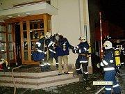 Požár recepce počítačové firmy v brněnské ulici Nové sady.