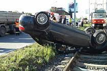 Nehoda osobního a nákladního vozu v brněnské Vídeňské ulici. Foto: HZS JMK