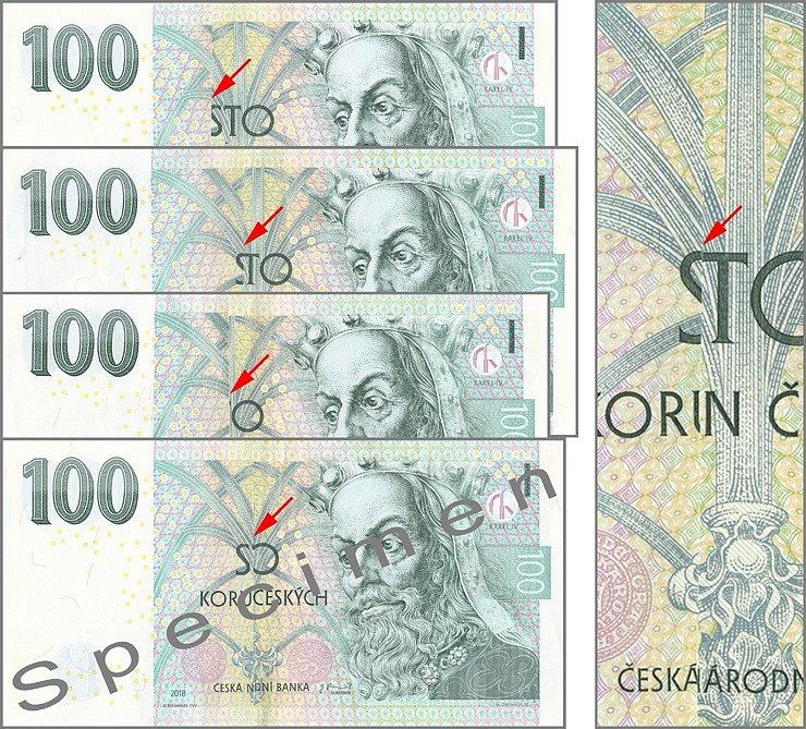 Bankovky 100 Kč slepené ze dvou částí z levého a pravého okraje bez střední části s ochranným proužkem. Podle přirozené fluktuace ochranného proužku se místo řezu a slepení (červené šipky) na jednotlivých exemplářích liší.