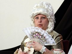 V kostýmu císařovny Marie Terezie.