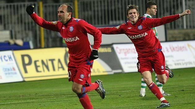 Fotbalisté brněnské 1. FC Brno Tomáš Polách a Luboš Kalouda