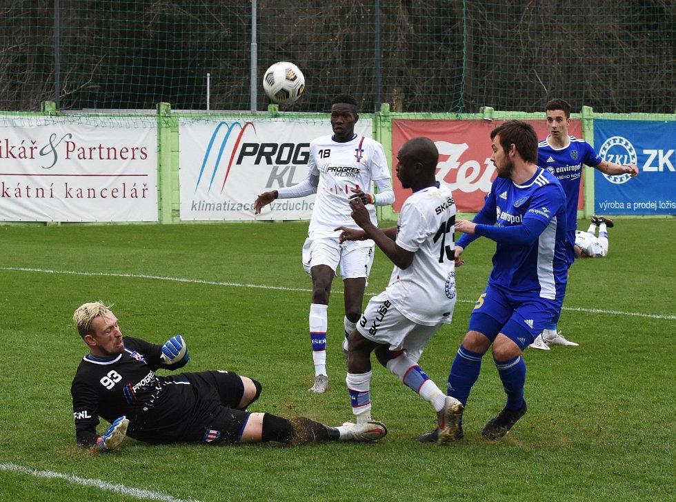 Druholigové utkání mezi Líšní (ve světlém) a Jihlavou skončilo výhrou brněnského mužstva 2:0.