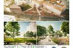 Návrh ov architekti, s.r.o. (Ing. arch. Štěpán Valouch , Ing. arch. Jiří Opočenský)  na rekonstrukci parku mezi Místodržitelským palácem a Rooseveltovou ulicí, který získal třetí místo.
