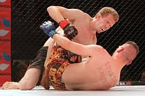 V kategorii do 66 kilogramů MMA zvítězil Brňan Štěpán Šlapanský (v černých trenkách) nad Polákem Adamem Witkowskim ve druhém kole chvatem.