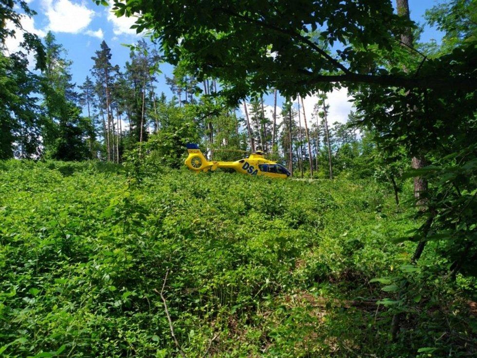 Na muže spadl strom. Do lesa pro něj musel vrtulník