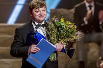 Herec Michal Isteník si činoherní Thálii převzal až v samém závěru slavnostního programu.