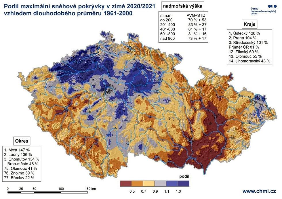 Podíl maximální sněhové pokrývky v zimě 2020/21.