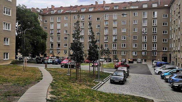 Opravený vnitroblok mezi ulicemi Kounicova, Tábor, Pod Kaštany a Šumavská v brněnských Žabovřeskách
