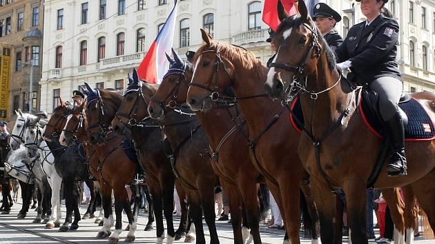Náměstí Svobody v Brně ovládli jezdci na koních. Zahájili policejní mistrovství v jezdectví.