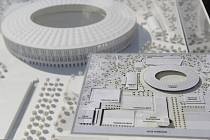 Maketa plánovaného fotbalového stadionu za Lužánkami. Ilustrační foto.