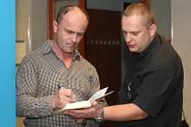 Soud s vydavateli Hitlerových projevů - vlevo obžalovaný Stanislav Beer.