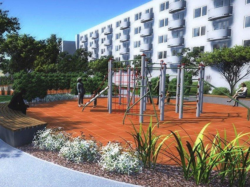 Návrh nové podoby areálu v Jiráskově ulici ve Šlapanicích na Brněnsku. Hotovo má být do konce roku.