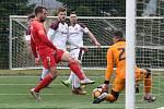 Brno 15.2.2020 - přípravné utkání mezi FC Zbrojovka Brno (Adam Fousek) v červeném proti FK Železiarne Podbrezová