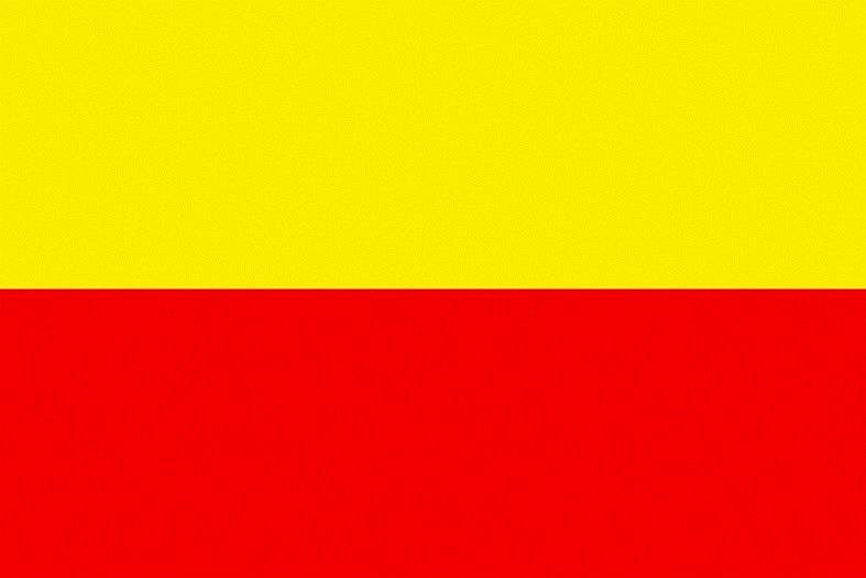 Žlutočervená bikolóra doplněná o znak se zlatočerveně kostkovanou orlicí na modrém štítu. Takzvané občanská vlajka vytvořená promoravanskými sdruženími ke konci dvacátého století. Znak má odlišit vlajku od totožných vlajek, jako je třeba vlajka Prahy.