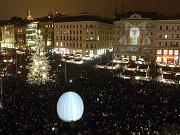 Rozsvěcení vánočního stromu na brněnském náměstí Svobody 24. listopadu 2017.