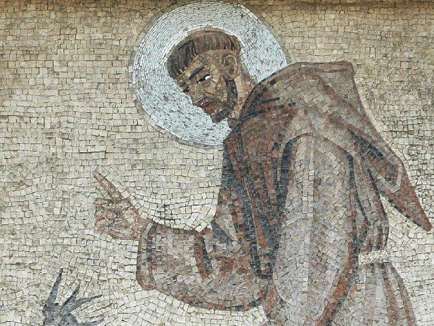 Mozaika na kapucínském kostele v Brně.