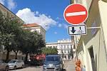 Cykloobousměrka v opravované Opletalově ulici v centru Brna, kterou zástupci města chtěli zrušit.